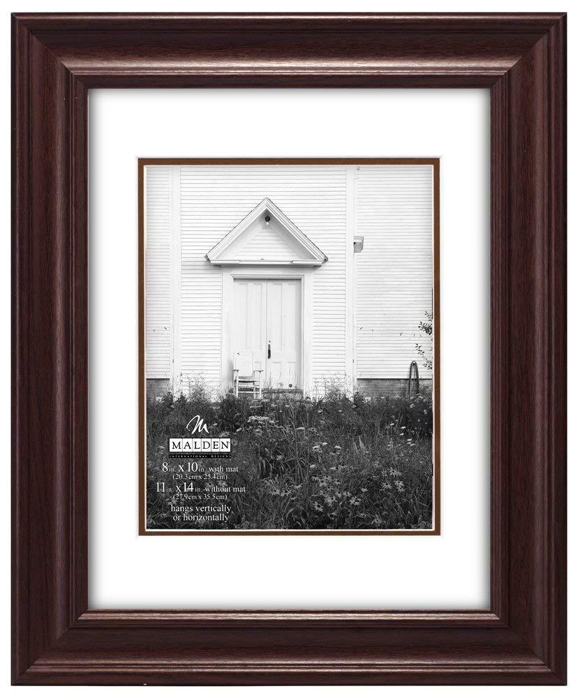 Malden International Designs Bloomfield Scoop Double Matted Wood Picture Frame, 8x10/11x14, Walnut