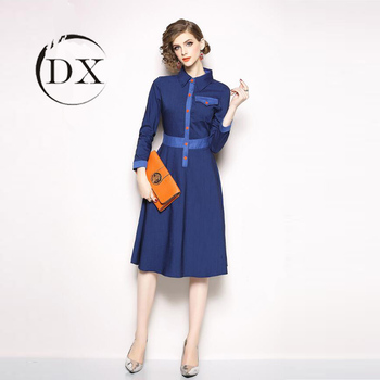 Western Elegant Women Lady Plus Size A Line Denim Button Shirt Pocket Dress  - Buy Denim Dress Women,Plus Size Dress Skirts,Dresses Women Elegant ...