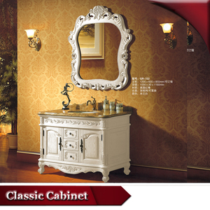 HS-G722 l shaped european modern free standing solid wood bathroom vanity
