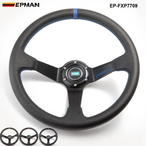 Universal Deep Dish PVC Leather 6-Bolt Steering Wheels 350MM & Horn Button EP-FXP7709