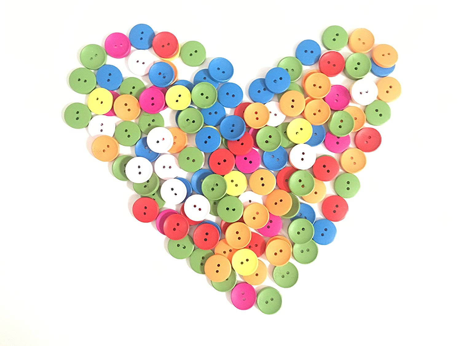 Timemorry 100PCS Mixed Random 2-Holes Wooden Buttons-DIY-Craft Sewing Buttons-20MM-7 Colors