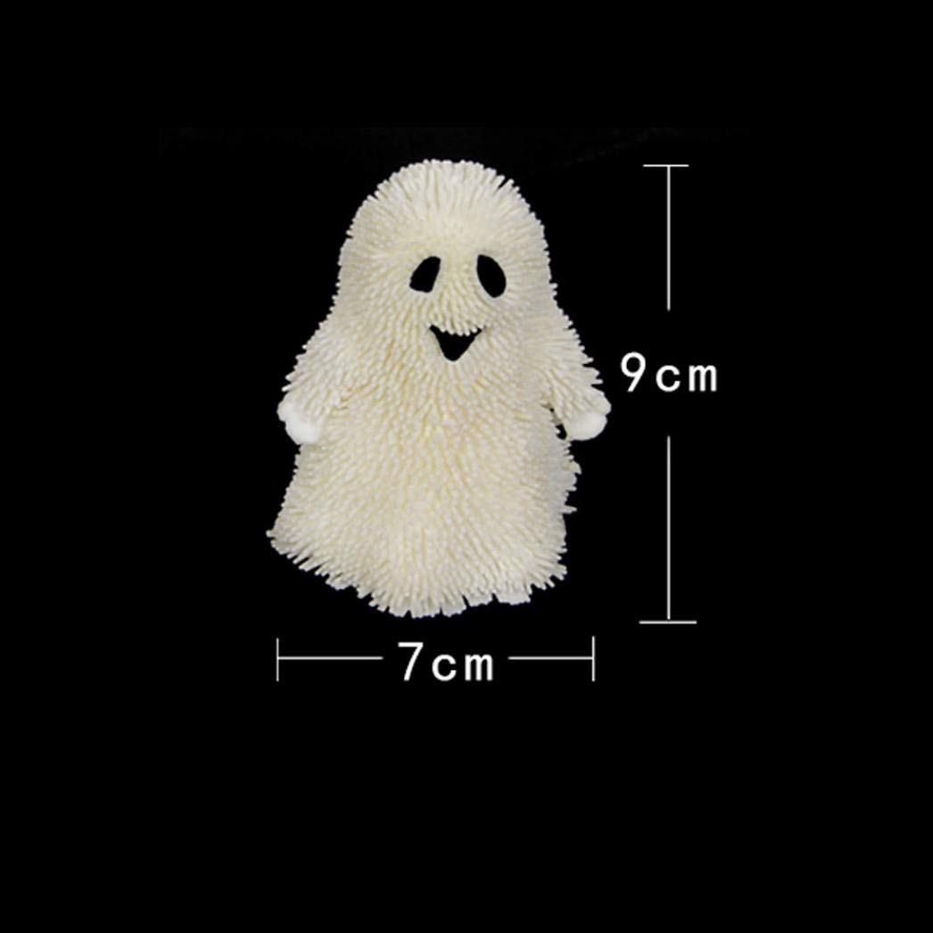 Gbell Novelty Light Up Halloween Ghost Pumpkin Stress Puffer Ball Squishy Toys, Stress Release Squeeze Ball Toy for Kids Boys Girls Adults (A)
