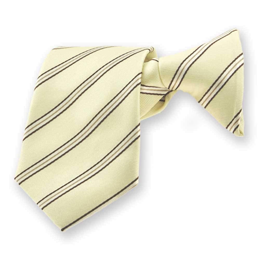 """TieMart Boys' Vanilla Melvin Stripe Clip-On Tie, 14"""" Length"""