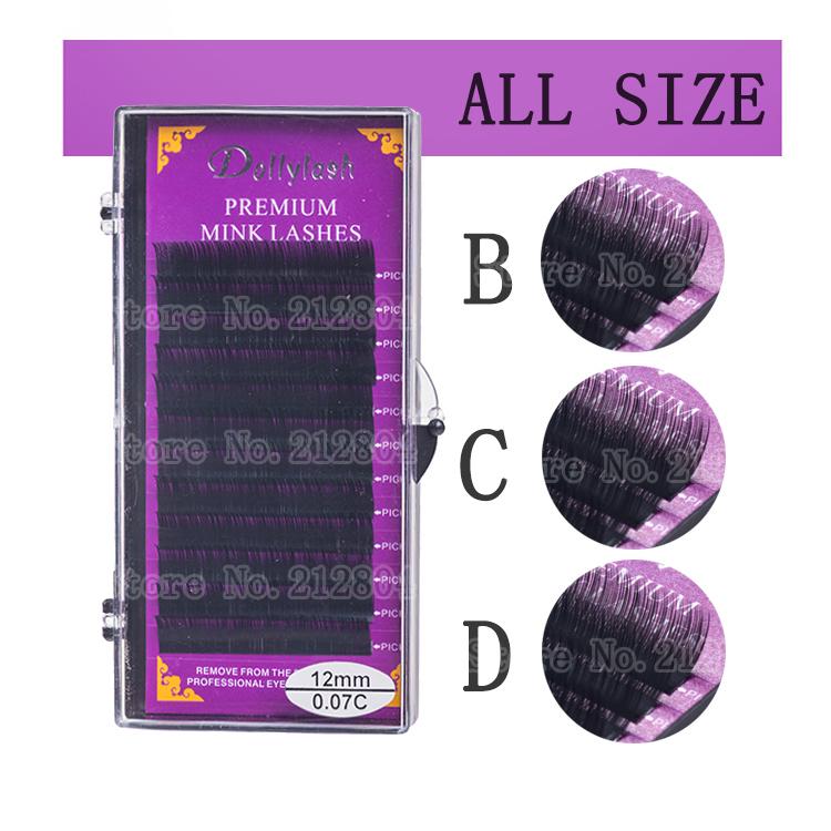 2015 Hot All Size B C D Curl Individual Mink Eyelash Extension Soft Black  Fake False Eye Lashes9-14mm Makeup Toool Freeshipping - Unfair Weight