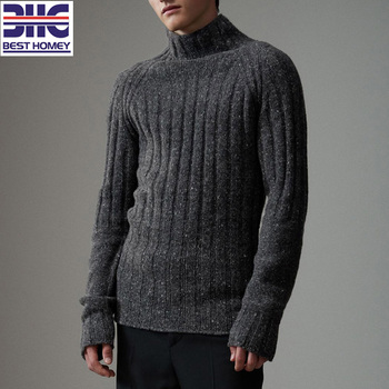 Mens 5g Thick Rib Knit Wool Nylon Fancy Yarn Blend Winter Turtle