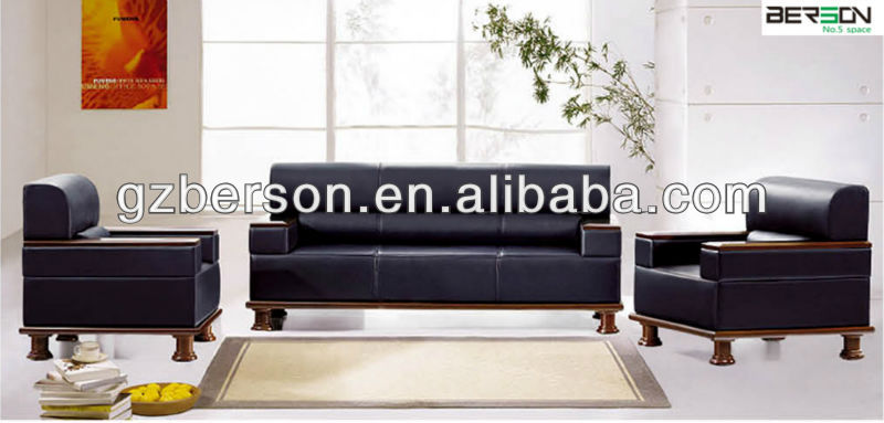 popular fashion design solid wood leg leather office sofa