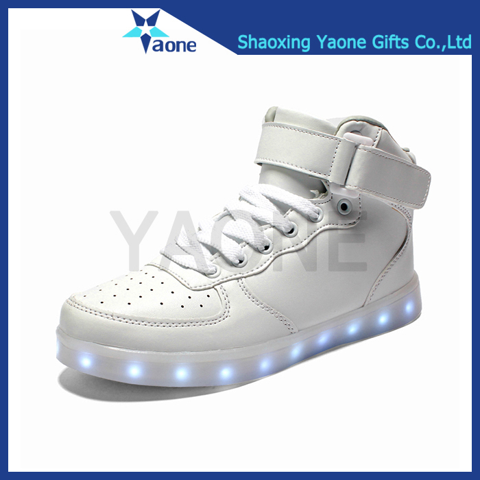 High top neck colors changing PU flashing white led shoes men