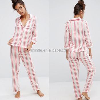 Women Winter White Red Stripe Pyjama Set Satin Stripe Bedding Pajamas Set  Wholesale Custom Clothes Sleepwear d8080964f