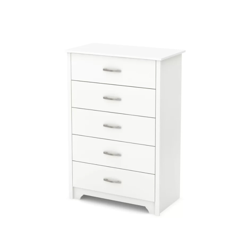 Home Multi 5 Slide Drawer Wood Small White Corner Storage Cabinet