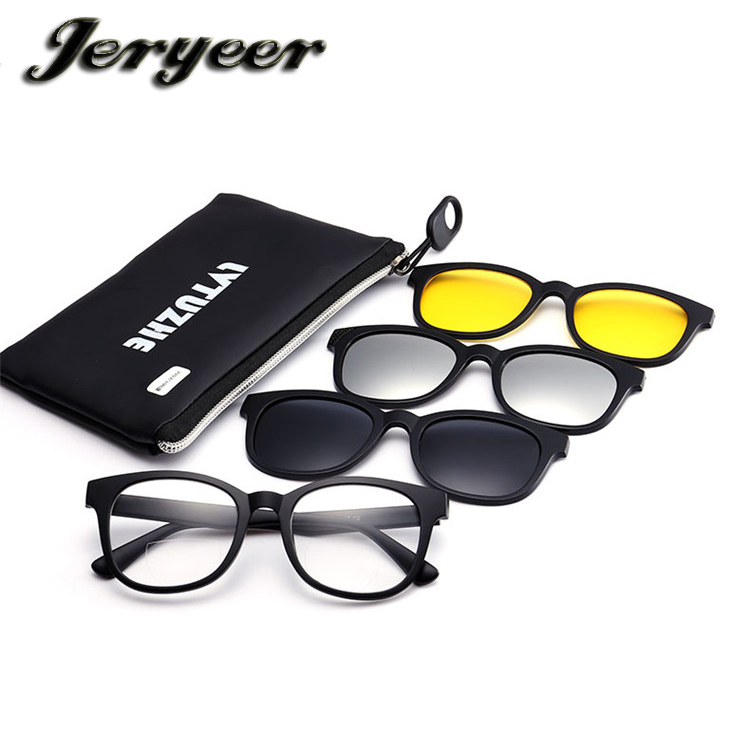 cdee368d4ee 2017 hot sell new style polarized clip on sun glasses set magnet reading  glasses night vision magnetic clip on glasses