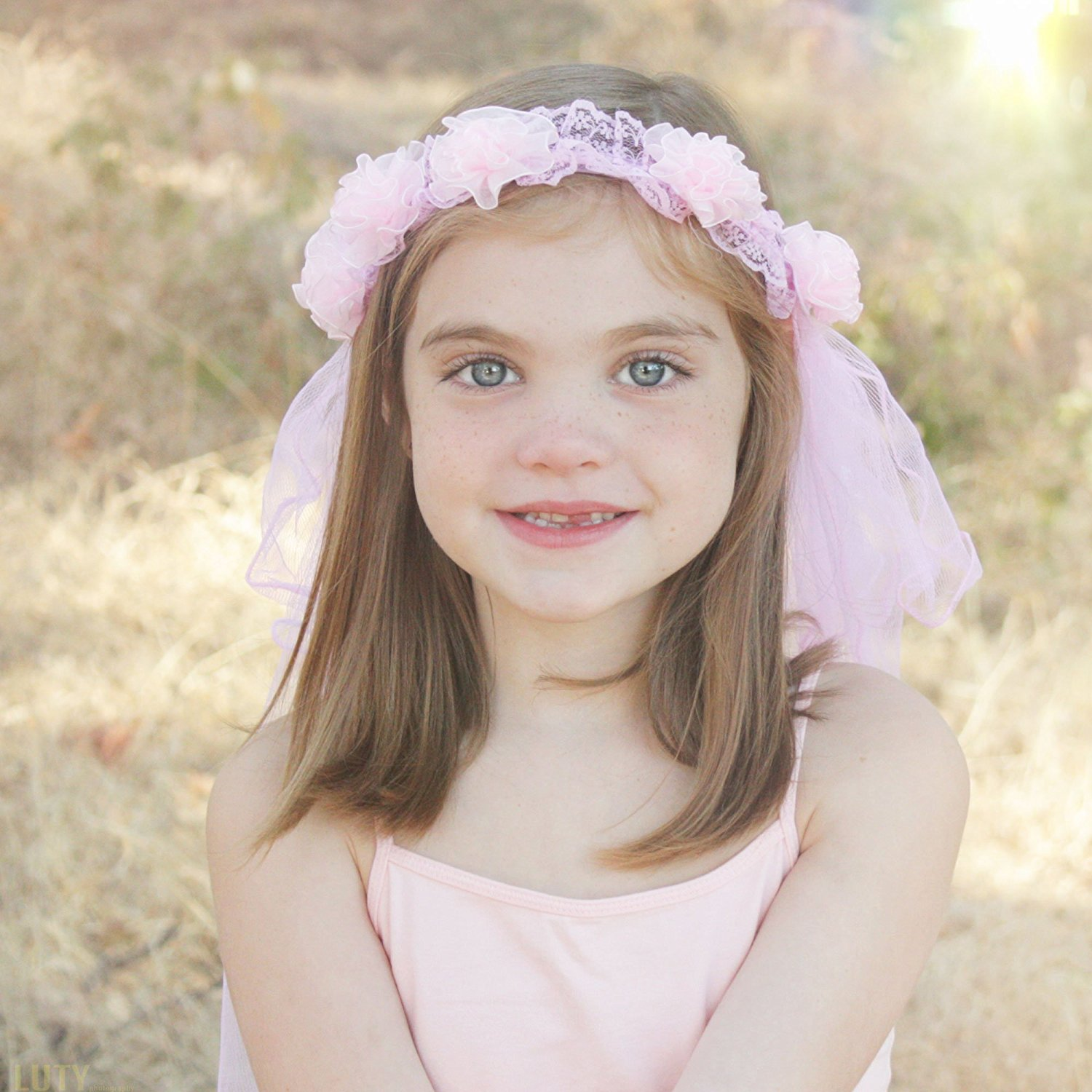 Cheap flower crown veil find flower crown veil deals on line at get quotations princess flower tiara with veil for girls pink hair head band costume for young izmirmasajfo Gallery