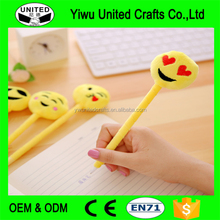 Special Emoji Hat Plastic Holder Fluffy Pens with Customized Printed