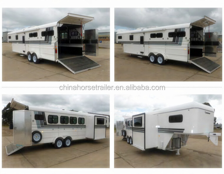 4 horse trailer angle load gooseneck trailer with round living quarter/4 horse float export to the world