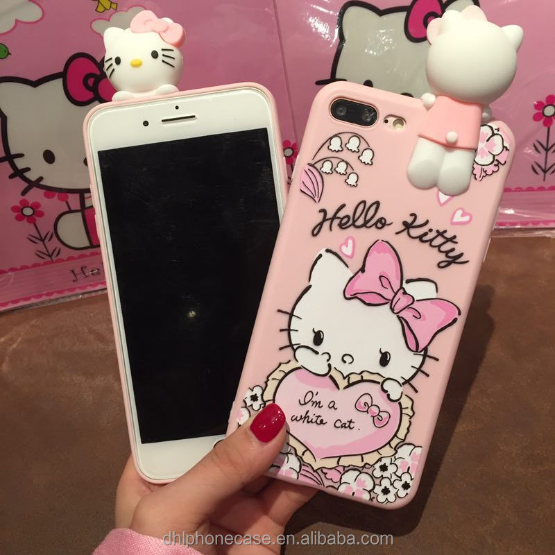 6148ae3be factory price cute soft pink hello kitty cartoon girl mobile phone silicone  case for iphone 6 7 8 X, for Samsung galaxy S4