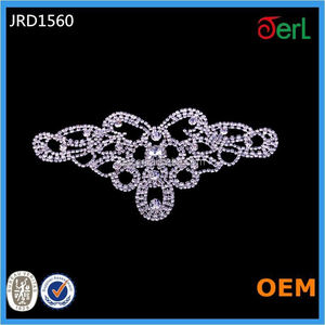 Wholesale Charming Crystal Silver Lady Rhinestone Lace Motif Sewed on Wedding Dress