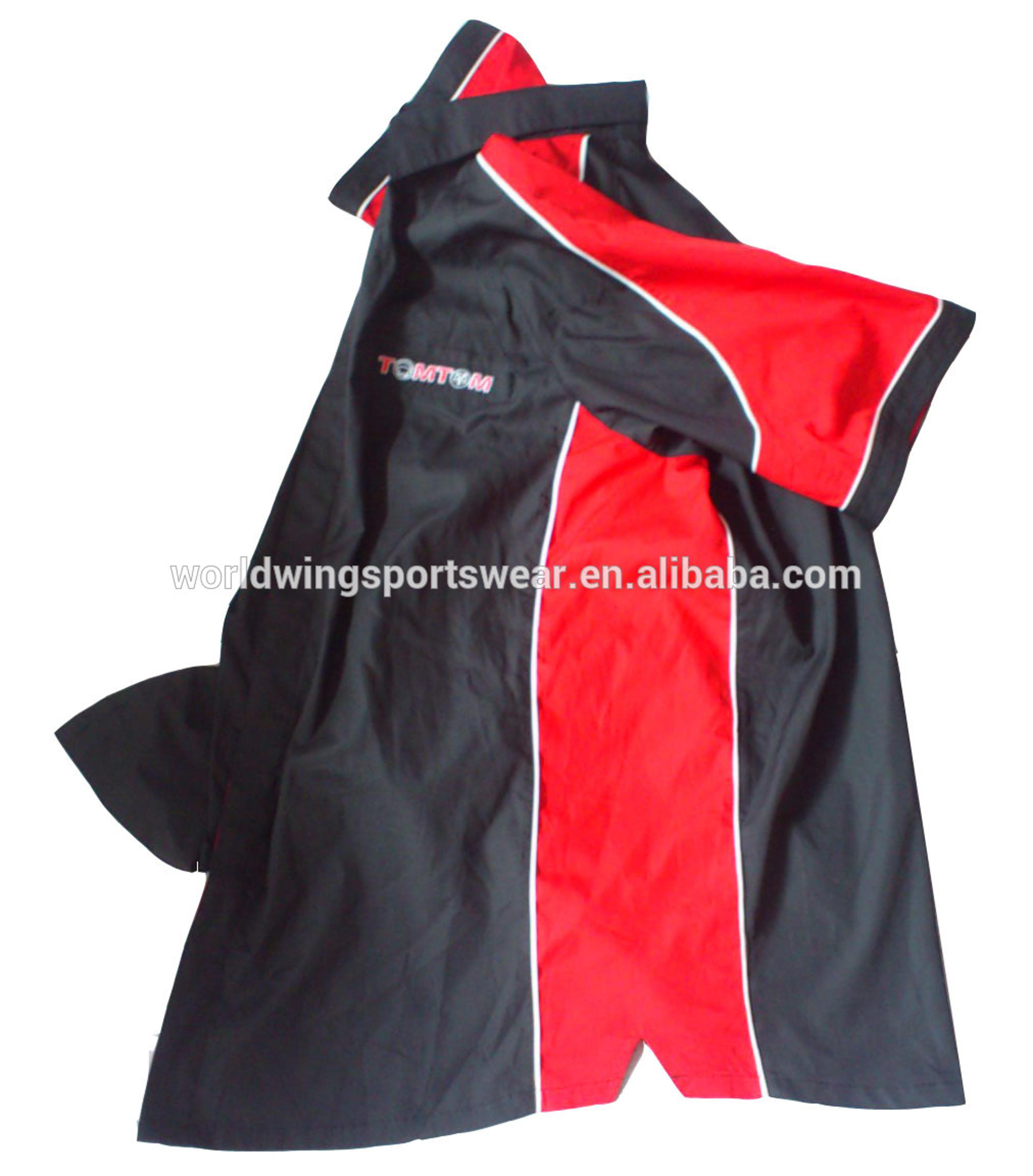 Mens Custom 65 Polyester 35 Cotton Black And Red Panels