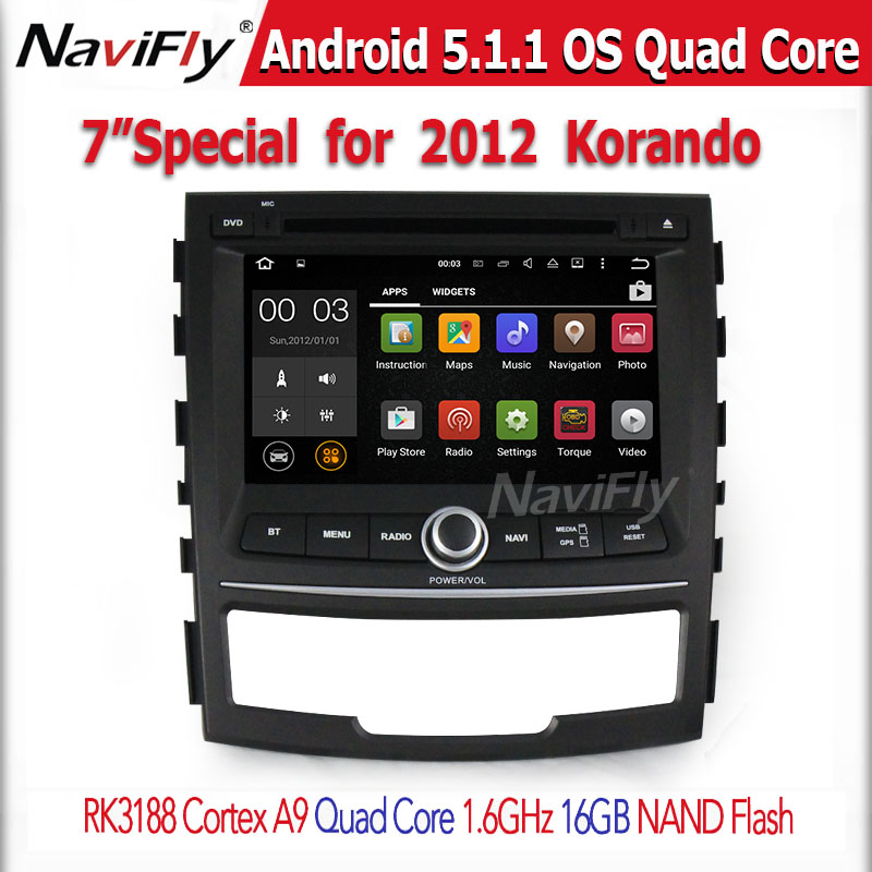 ROM 16G Quad Core 1024*600 Android 5.1.1 for SsangYong Korando 2010-2013 Car DVD Player GPS support wifi 3G Radio