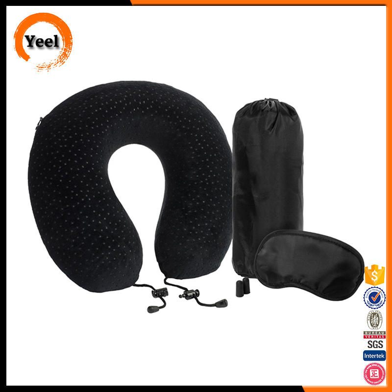 Memory Foam Travel Neck Pillow with Sleep Mask, Earplugs, Carry Bag, Adjustable Toggles and Velour Cover