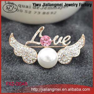 2015 New Fashion Rhinestone Pearl Angel Wings Love Brooches For Women