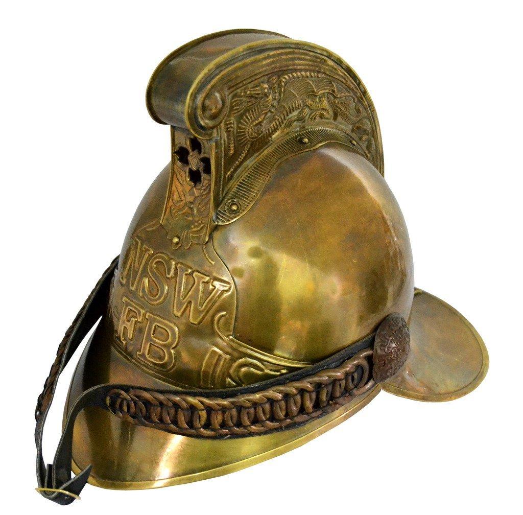 Brass Nautical Firemen Helmet NSW New South Wales Fire Brigade Helmet - Brass