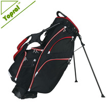 Black Waterproof 14 Way USA Golf Bag With Multiple Pocket Golf Stand Bag With Thermal Lined Water Bottle Pocket