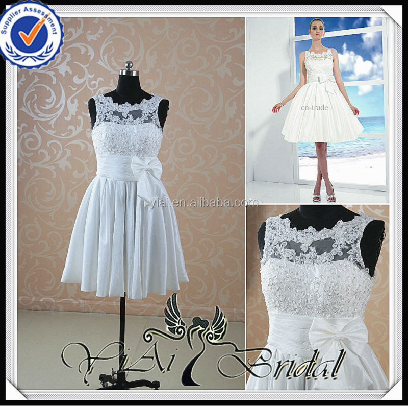 RSW408 Boat Neck Knee Length Ivory Casual Short Country Wedding Dresses