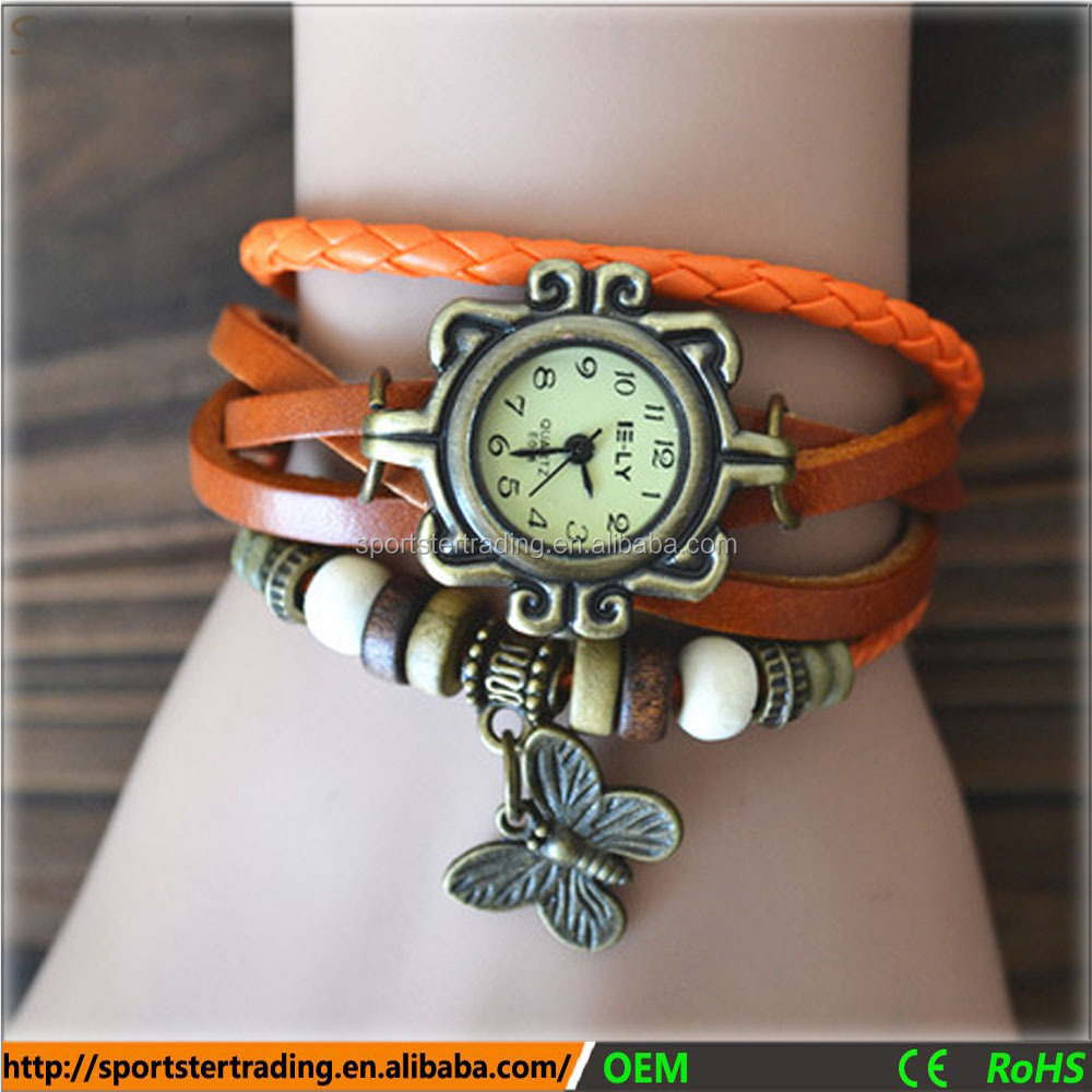 Drop shipping fast <strong>delivery</strong> antique leather wrap strap chinese wholesale watches