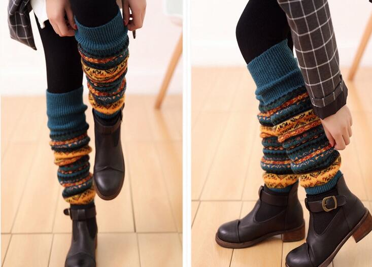 New Women Winter Stripes Leg Warmers Knee High Wool Aztec Knitted Leg Warmers