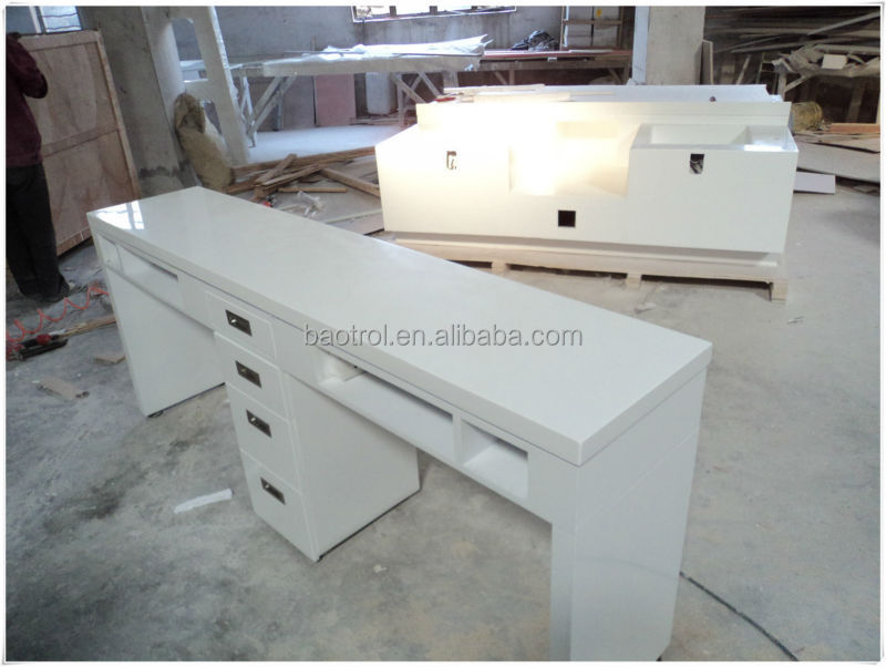 Marble Nail Bar Furniture Double Seats Manicure Table Salon High Quality