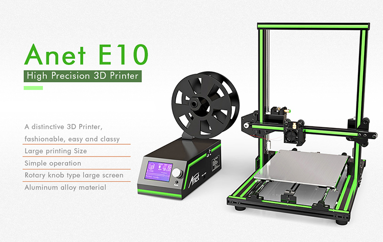 New Arrival Anet E10 3D Printer Price Rapid Prototyping 3D Printing Machine Prusa i3 3 D Printer Kit for Sale