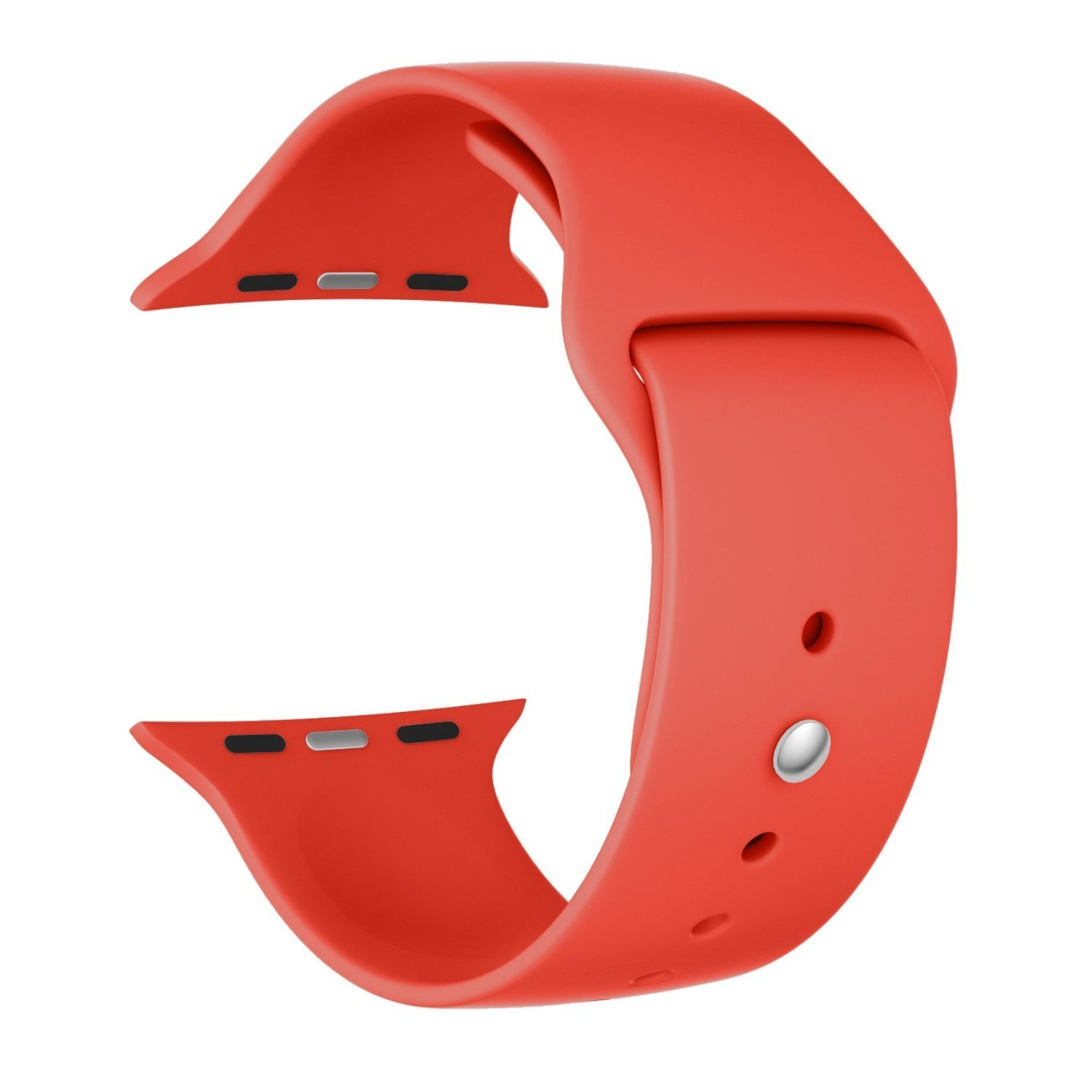 Apple Watch Band, BUREI Soft Silicone Sport Style Replacement Iwatch Strap for Apple Wrist Watch 38mm/42mm (38mm,style2, orange)