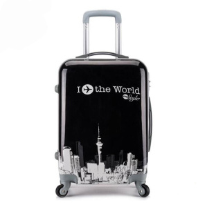 2018 hot sell PC travel bag trolley luggage trolley hard shell printed suitcase