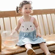2016 Kids Girl Summer Sleeveless Dresses Baby Toddler Clothes Children Shoulder Rabbit Dress Lovely Bunny Overalls