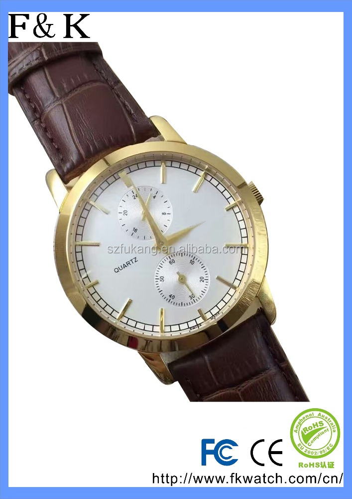Top selling high quality gold/silver tone quartz chronograph mens watch with genuine leather band