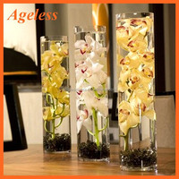 Portable Cheap Wholesale Tall Cylinder Long Glass Flower Vase for Home/Wedding Centerpiece