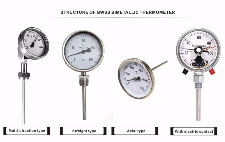 GWSS Industrial temperature gauge bimetal thermometer