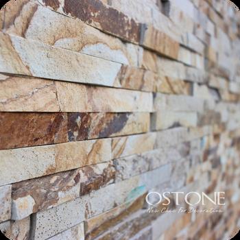 Classic Yellow Wood Grain Slate Cladding Veneer Culture Stone Wall