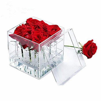 Acrylic rose flower box with cover romantic flower fresh-keeping box gift / acrylic box preserved flowers