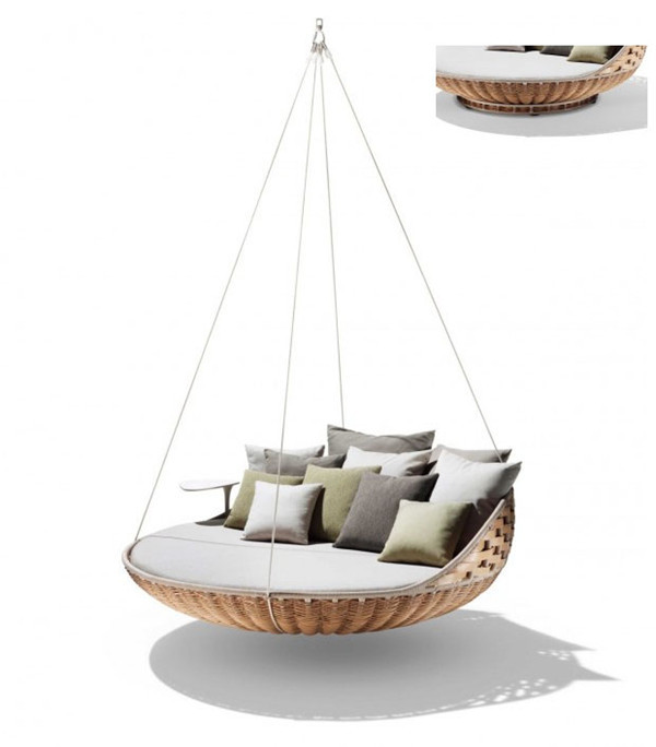 French romantic rattan outdoor hanging bed