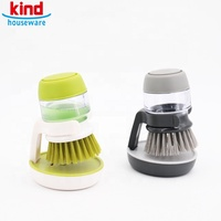 Soap Dispensing Palm Brush, for Pan Pot Dish Spoon Kitchen Cleaning Tool