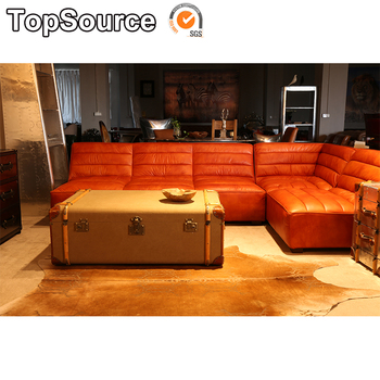Used Brown Color Restaurant Hotel Furniture Leather Sofa Sets Design
