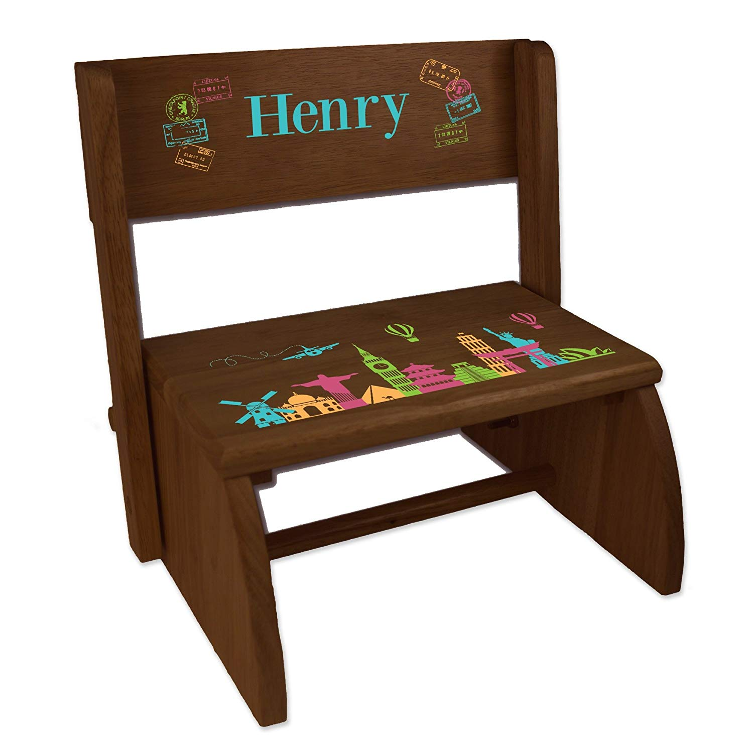 Personalized World Travel Pink Espresso Wooden Folding Stool and Seat