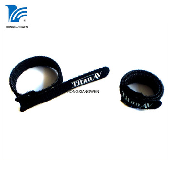 Flexible T shape logo printed custom hook and loop cable tie,hook and loop cable tie