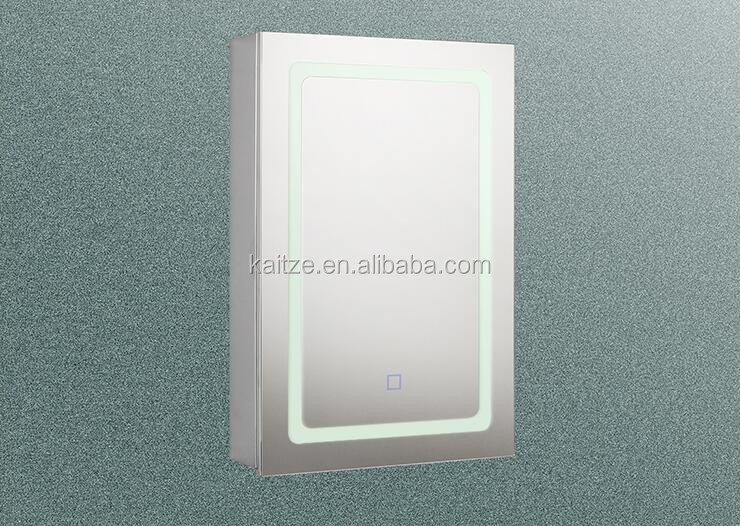 Illumine Dual Stainless Steel Medicine Cabinet With Lighted Mirror: Usa Style Bathroom Led Mirror Medicine Cabinet With Shaver