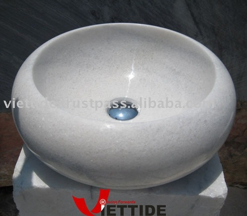 White Crystal Marble Sink Basin