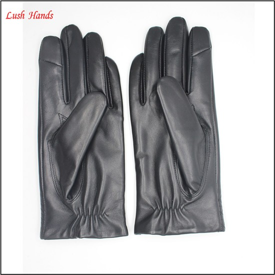 women short sheep leather gloves with grid partten cuff Telefingers gloves
