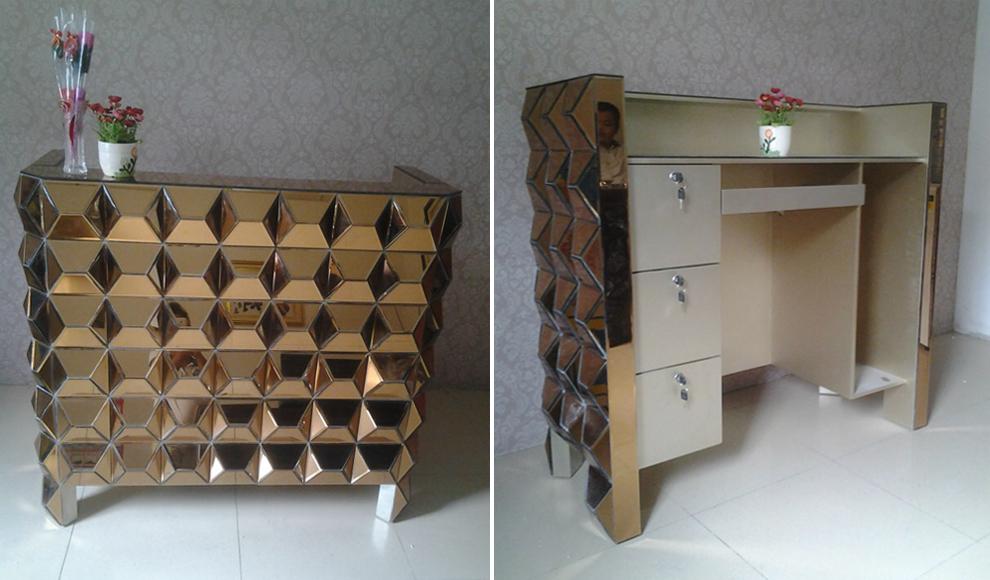 Charmant Fashionable Bronze Glass Mirrored Furniture Reception Desk