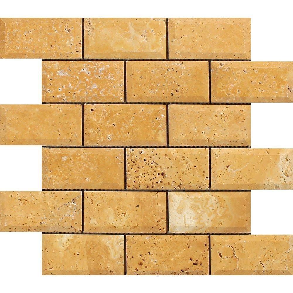 Honed Travertine Deep-Beveled Brick Mosaic, 2 x 4