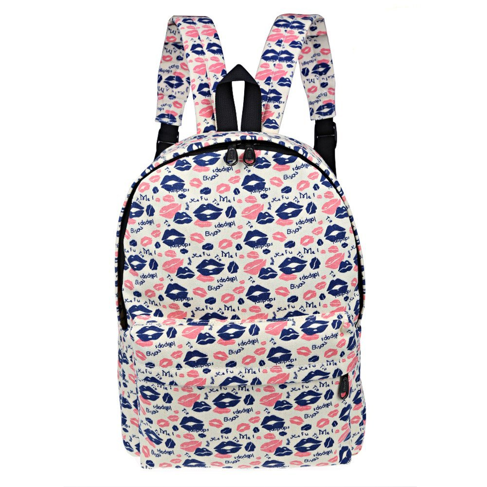 Get Quotations · Susufaa Casual Lightweight School backpack  Oxford canvas Curve Cute Lips printed backpack School Student Backpack  School Laptop 80eb3ff3f6