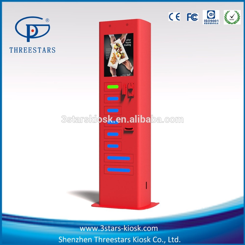 Interactive Information Cell Phone Charging Kiosk with digital signage